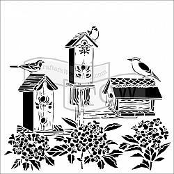 Birdhouses Stencil
