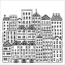 City Buildings Stencil